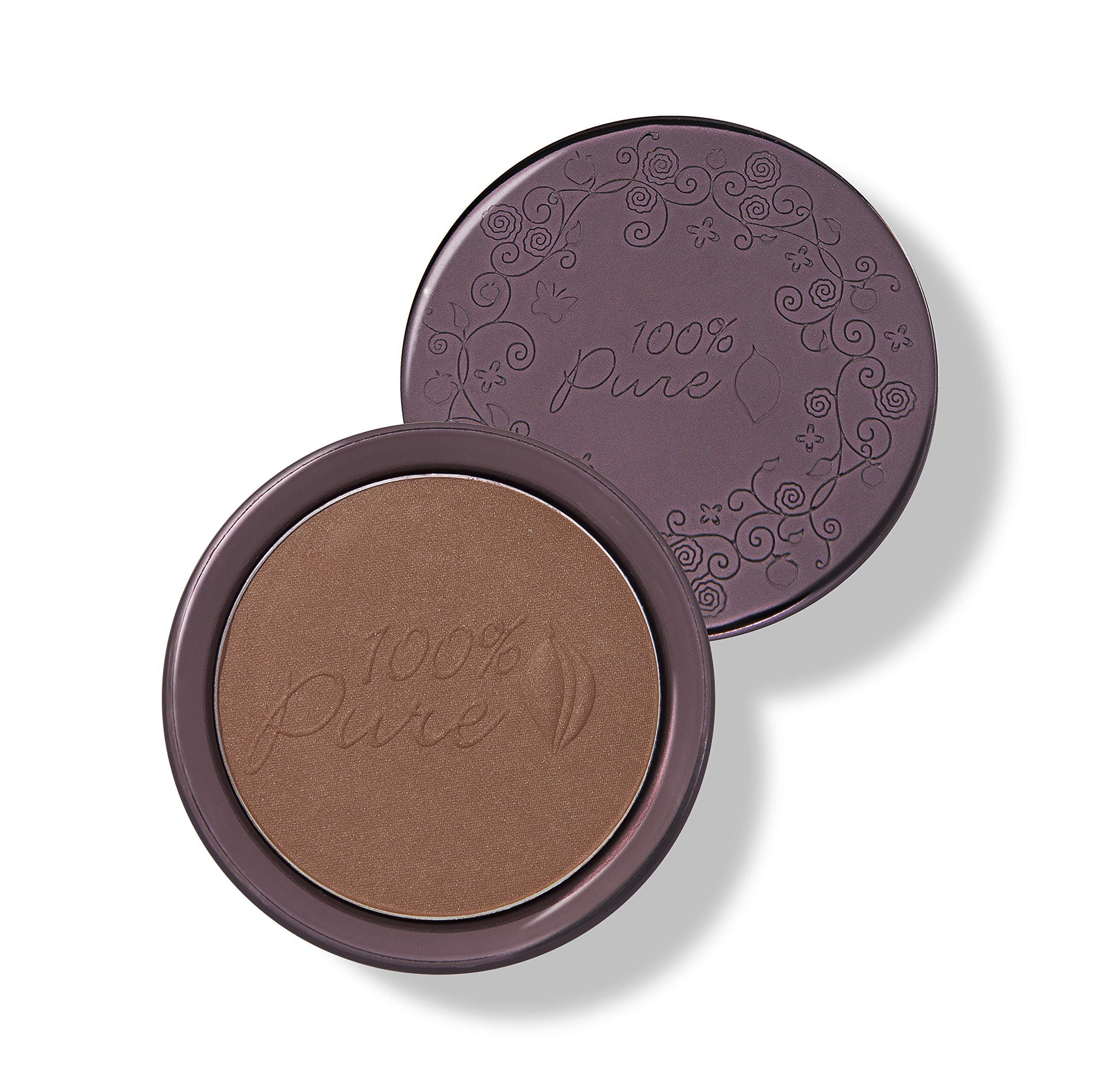 100% PURE Cocoa Pigmented Bronzer, Cocoa Glow, Bronzer Powder for Face, Contour Makeup, Soft Shimmer, Sun Kissed Glow (Deep Brown w/Gold-Red Undertones) - 0.32 Oz