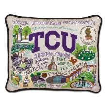 Catstudio Texas Christian University (TCU) Collegiate Embroidered Decorative Throw Pillow | Beautiful Award Winning Home Decor Artwork | Great for The Living, Family, Bed Rooms