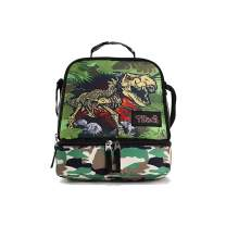 Tilami Lunch Bags Insulated Adjustable Strap Zipper, Two Compartments Cooler Bags, Bento Bags for Kids Toddlers (Dinosaur Cute)