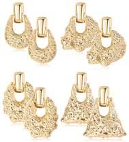 JOERICA 4 Pairs Hammered Statement Earrings for Women Girls Bohemian Exaggerated Geometric Dangle Drop Earrings Set