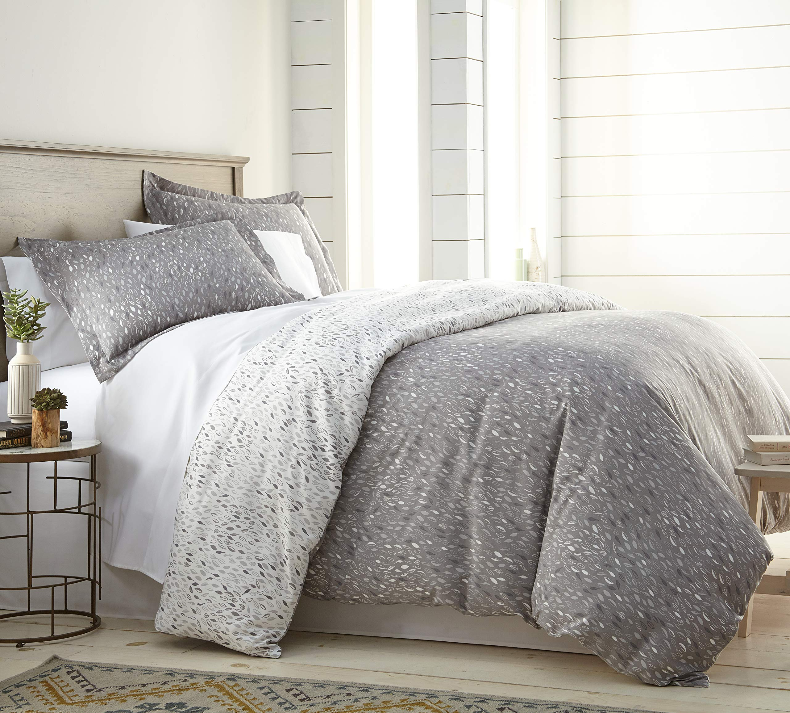 Southshore Fine Living, Inc. The Vilano Choice Collection 2-Piece Reversable Printed Duvet Cover Set, Twin/Twin XL, Botanical Leaves Grey