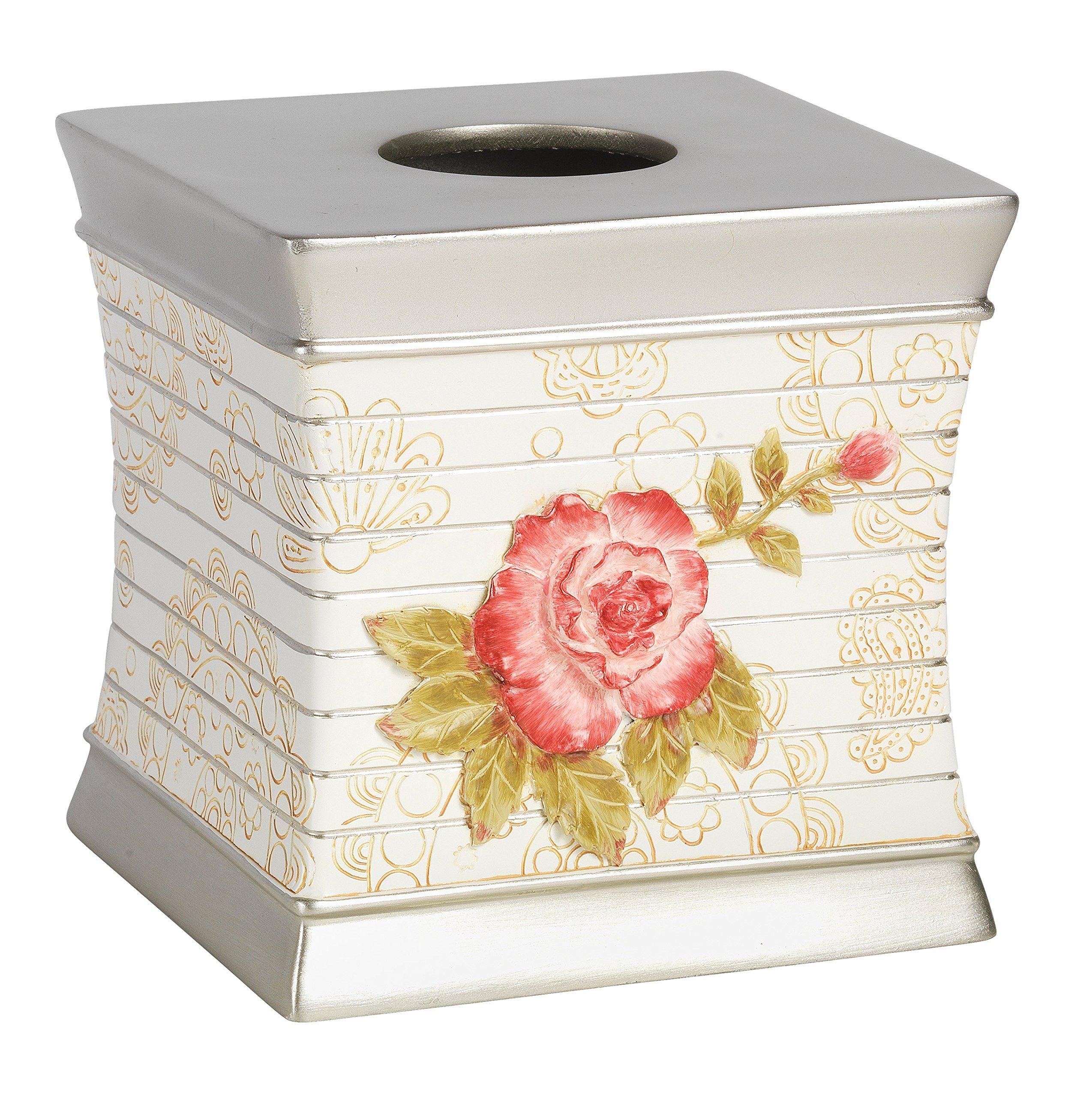Popular Bath Tissue Box, Madeline Collection, Beige/Pink