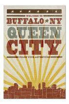 Buffalo, New York - Skyline and Sunburst Screenprint Style (Premium 1000 Piece Jigsaw Puzzle for Adults, 20x30, Made in USA!)