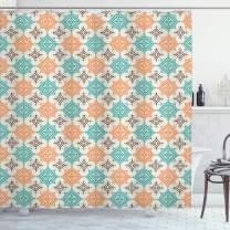 "Lunarable Tribal Shower Curtain, Bohemian Style Ornate Diamond Shape Pattern Design Geometric, Cloth Fabric Bathroom Decor Set with Hooks, 70"" Long, Turquoise Orange"