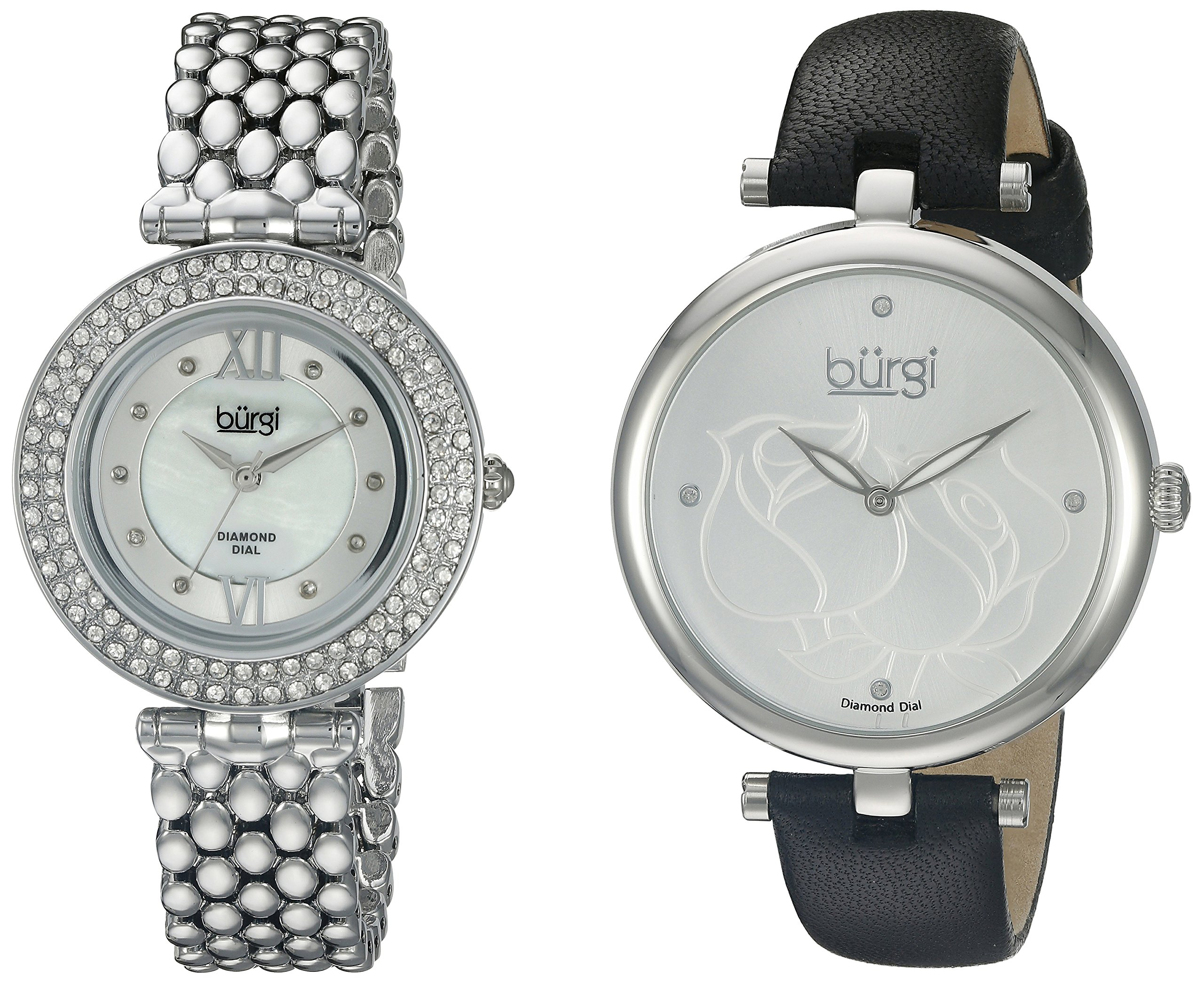 Burgi Women's 2 Watch Set 1 Every Day Rose Etched Flower Watch On Leather Band 1 Classy Crystal Watch On Stainless Steel Band - BUR152