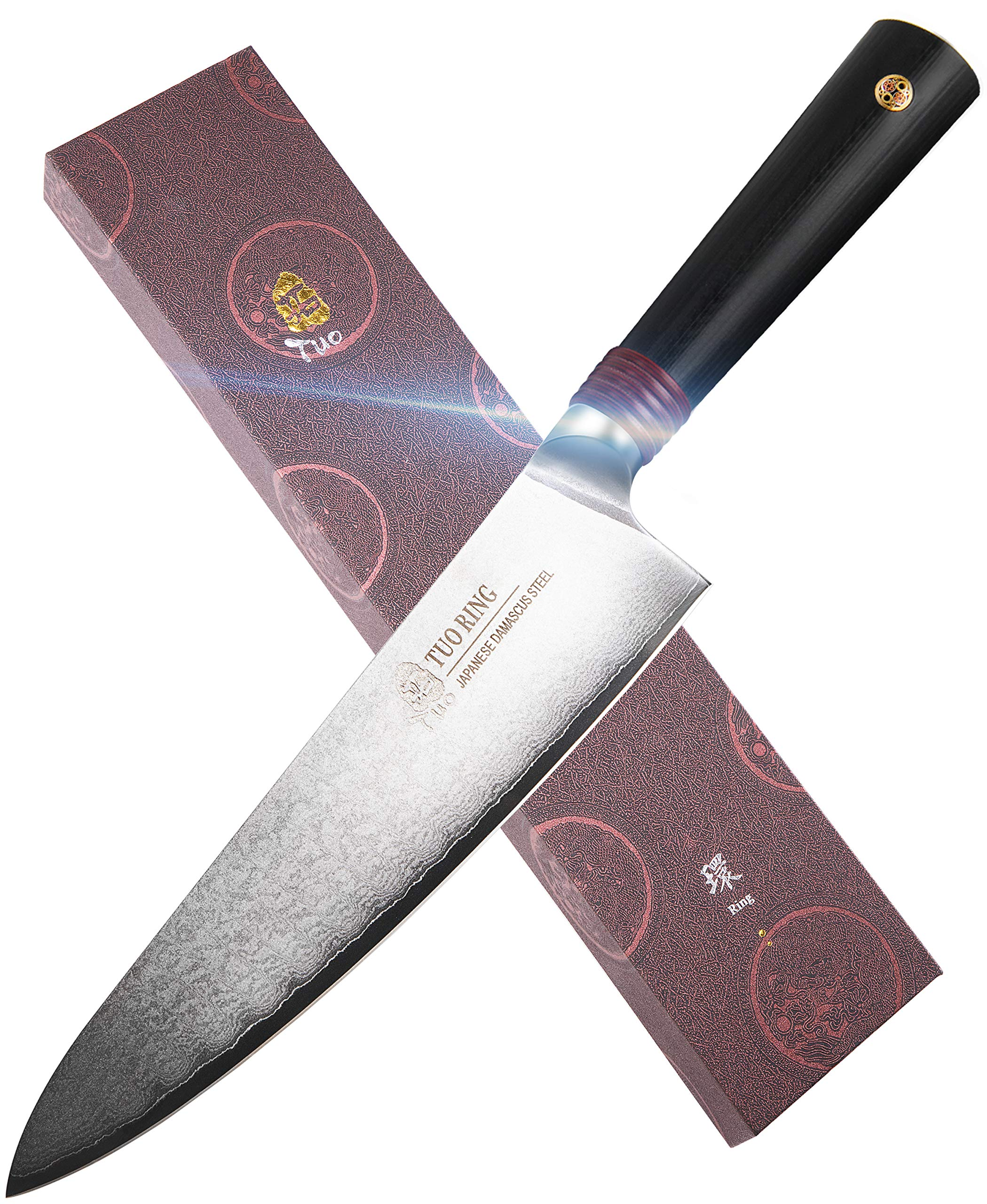 """TUO Chef's Knife - Kitchen Chef Knives - Japanese AUS-10 Damascus Steel - Dishwasher Safe G10 Handle - Gift Case Included - RING-DM Series TC0301DM - 8"""""""