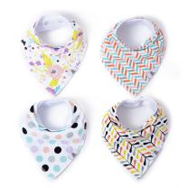 Bananas Over Baby Baby Bandana Snaps Unisex Drool Bibs 4 Pack for Babies Infant 100% Organic Cotton Super Absorbent Adjustable Drooling Teething Hypoallergenic | Flowers Dots