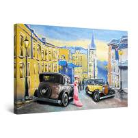"Startonight Canvas Wall Art Abstract - Retro Cars on The Old's Town Streets Painting - Large Artwork Print for Living Room 32"" x 48"""