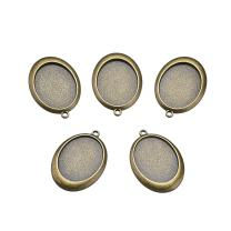 Beadthoven 10pcs Oval Vintage Tibetan Style Alloy Pendant Cabochon Bezel Settings Fit Oval Tray: 40x30mm Jewelry Making Necklace Accessories (Nickel Free, Antique Bronze)