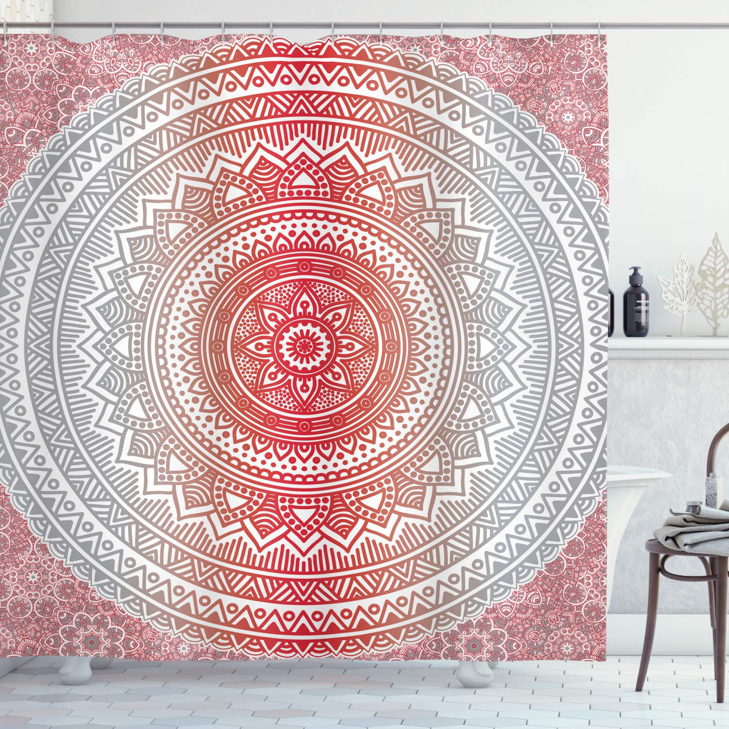 """Ambesonne Grey and Red Shower Curtain, Hippie Ombre Mandala Cosmos Pattern with Flower Geometrıc Indie Image, Cloth Fabric Bathroom Decor Set with Hooks, 70"""" Long, Vermilion Grey"""