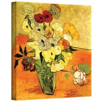 ArtWall Japanese Vase with Roses and Anemones by Vincent Van Gogh Gallery Wrapped Canvas, 14 by 18-Inch