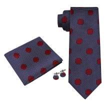 Twenty Dollar Tie Men's Tranquil Polka Silk Tie Pocket Square and Cuff-links Set
