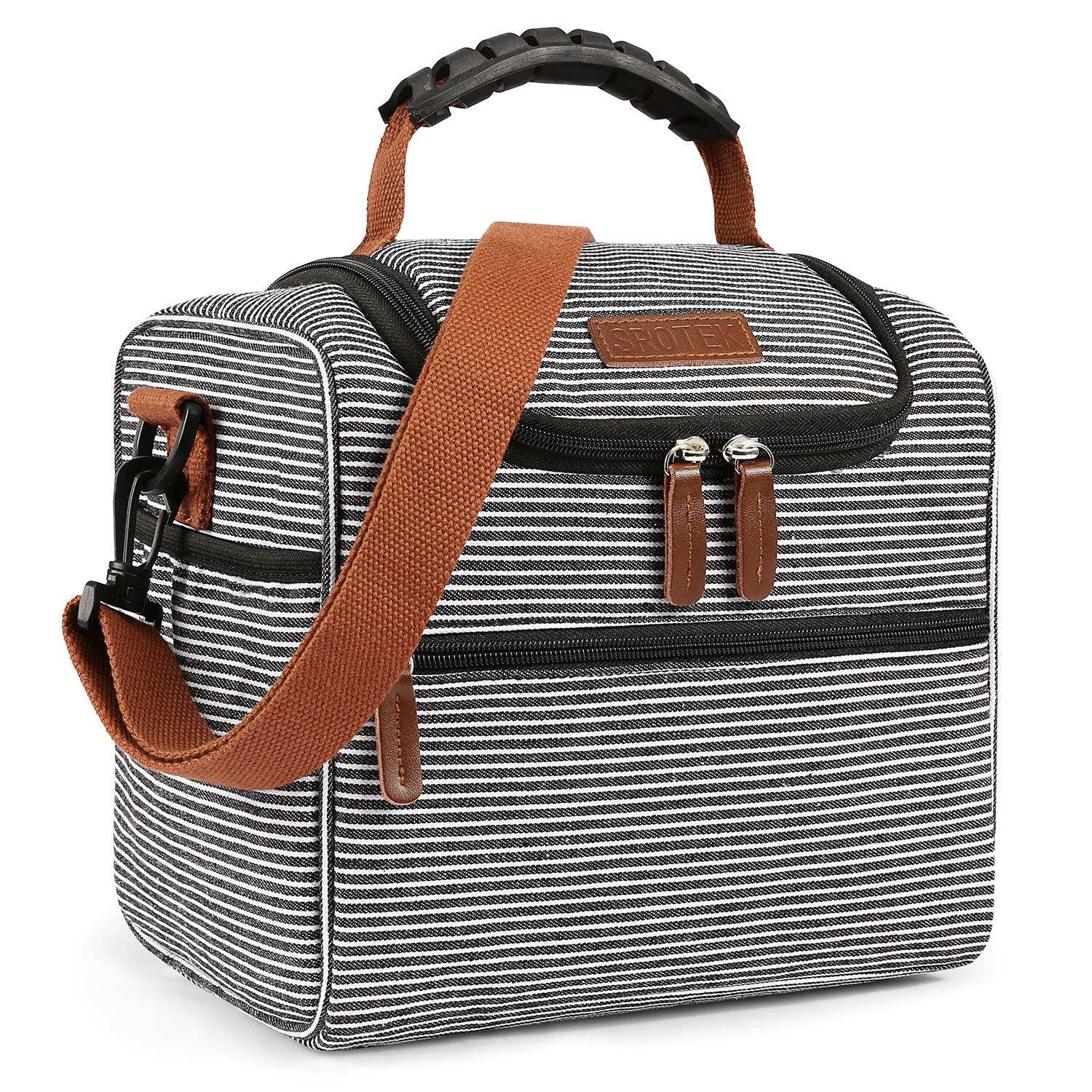 LOKASS Lunch Box Insulated Lunch Bag Large Lunch Cooler Tote Canvas Snack Bag with Detachable Shoulder Strap for Women, Men, Adults, Water-resistant & Lightweight & Multi-pocket,Stripes