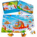 Rolimate Wooden Jigsaw Puzzles for Kids 60 Piece Best Gift 3 4 5 Year Old Boys and Girls, Animals Colorful Wooden Puzzles for Toddler Children Learning Educational Puzzles Toys with Metal Puzzle Box