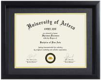 Diploma Frame 8.5x11 with Black Mat or 11x14 Without Mat, Black College Degree Frame for Diploma, Document, Certificate and More. Semi-Tempered Real Glass, Designed by CORE ART