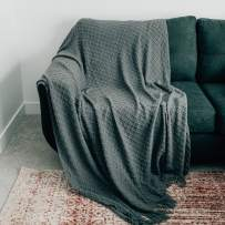 """GRACED SOFT LUXURIES Oversized Throw Blanket Woven Soft for Sofa Couch Decorative Knitted Fringe Blanket Cobijas (Charcoal, Extra Large 60"""" x 80"""")"""