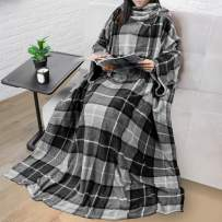PAVILIA Premium Fleece Blanket with Sleeves for Adult, Women, Men | Warm, Cozy, Extra Soft, Microplush, Functional, Lightweight Wearable Throw (Plaid Charcoal)