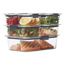 Rubbermaid Brilliance Leak-Proof Food Storage Containers with Airtight Lids, Set of 7 (14 Pieces Total)   BPA-Free & Stain Resistant
