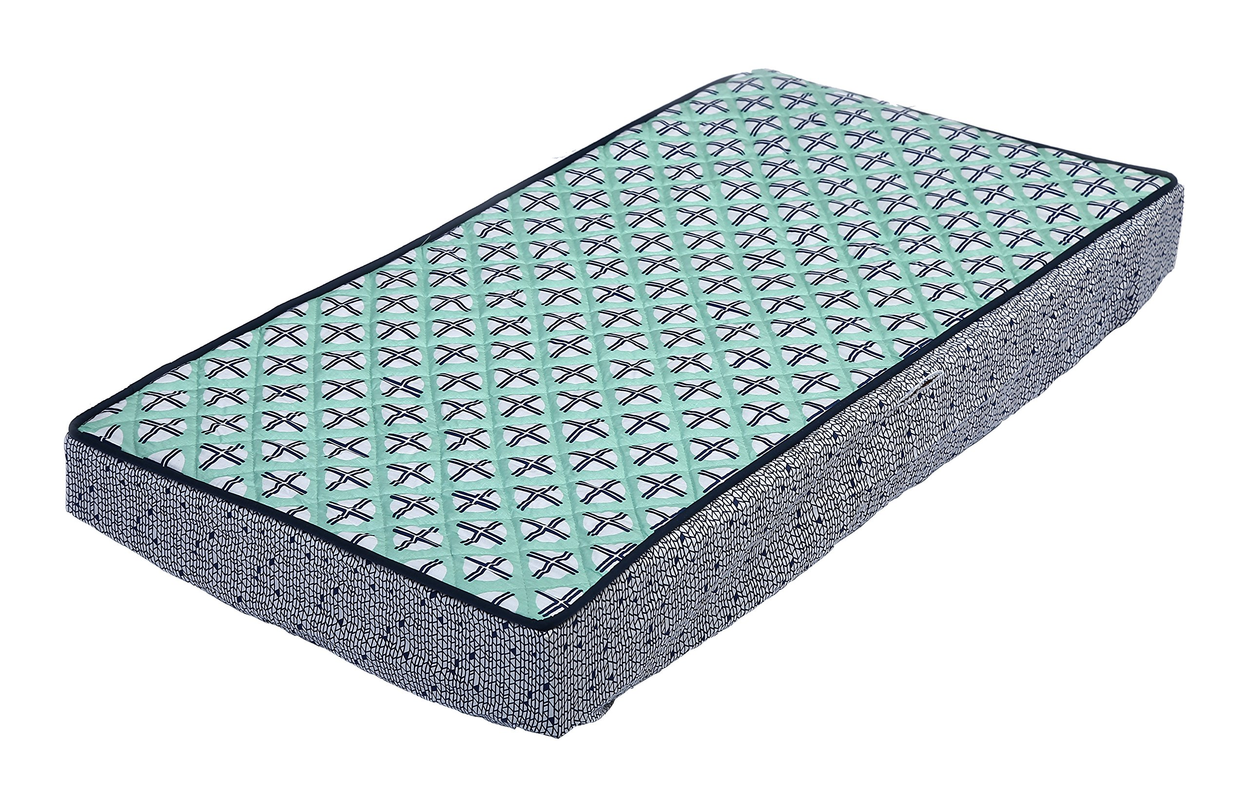 Bacati Noah Tribal Quilted Top Cotton Percale with Polyester Batting Diaper Changing Pad Cover, Mint/Navy Dot/Cross