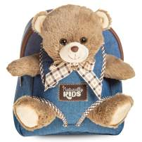 Denim Backpack with Bear for Boys & Girls - Small Backpacks with Plush Toy for Girl & Boy w Huggable Soft Plush Bear Cub Lovely Gift for Toddler 3 4 5-10 Year Old Child Adjustable Straps Fit Any Age