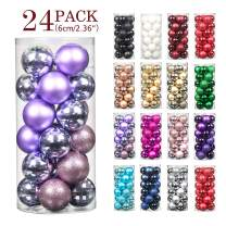 """Jusdreen 24pcs Christmas Balls Ornaments for Xmas Tree Shatterproof Christmas Tree Hanging Balls Decoration for Holiday Party Baubles Set with Hang Rope 2.36""""(Light Purple 60mm)"""