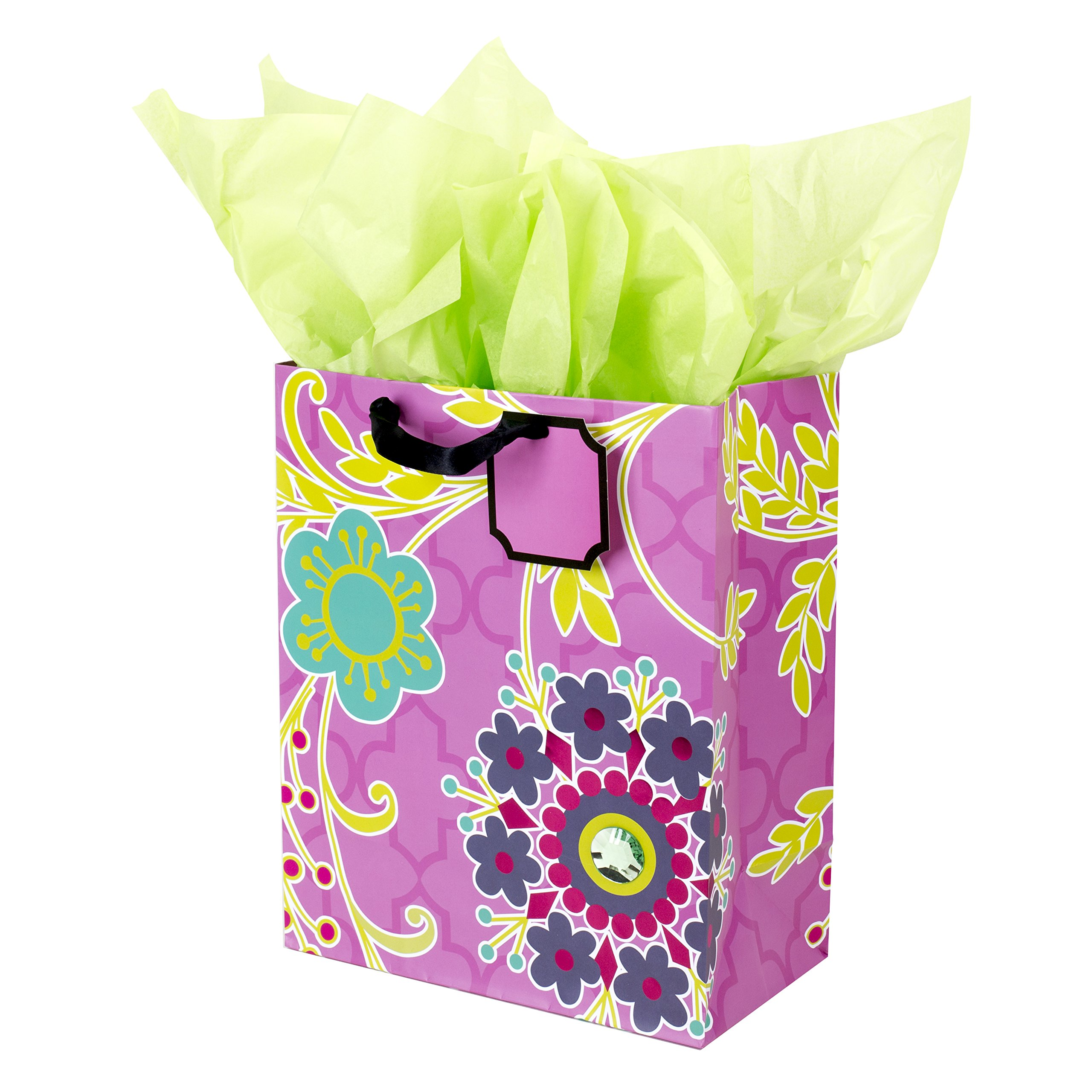 "Hallmark 13"" Large Gift Bag with Tissue Paper (Purple Flower with Gem) for Birthdays, Mothers Day, Bridal Showers, Baby Showers or Any Occasion"