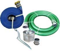 "JGB Enterprises Eagle Hose PVC/Aluminum Water/Trash Pump Hose Kit, 4"" Green Suction Hose Coupled C x KCN, 4"" Blue Discharge Hose Coupled M x F WS, 29 Vacuum Rating, 70 PSI Maximum Temperature, 50' Length, 4 ID"