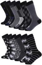 Mio Marino Mens Dress Socks - Moisture Control - Everyday Crew Socks - 12 Pack