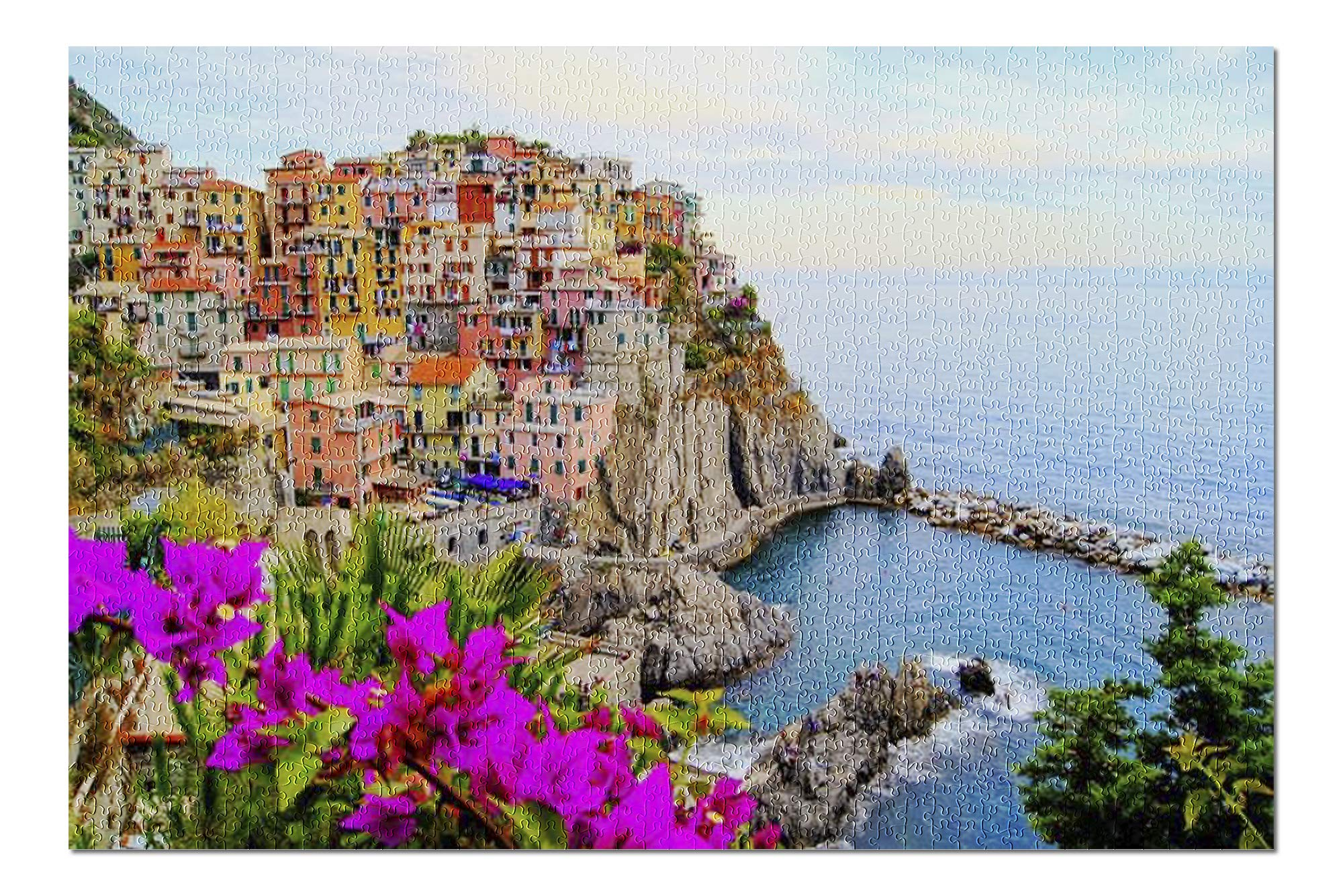 Cinque Terre - Coast of Italy with flowers 9002741 (19x27 Premium 1000 Piece Jigsaw Puzzle, Made in USA!)