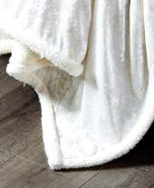 DE MOOCCI Velvet Crush Sherpa Throw Blanket for Couch 50 x 60 | Super Soft and Cozy with a hint of Sheen (White)