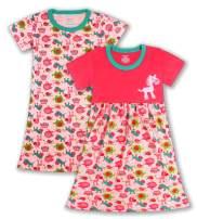ZEBZOO Girls Dress Short-Sleeve Elastic Waist Tunic Dress & T-Shirt 2-Pack Cotton Clothes 2-10 Years