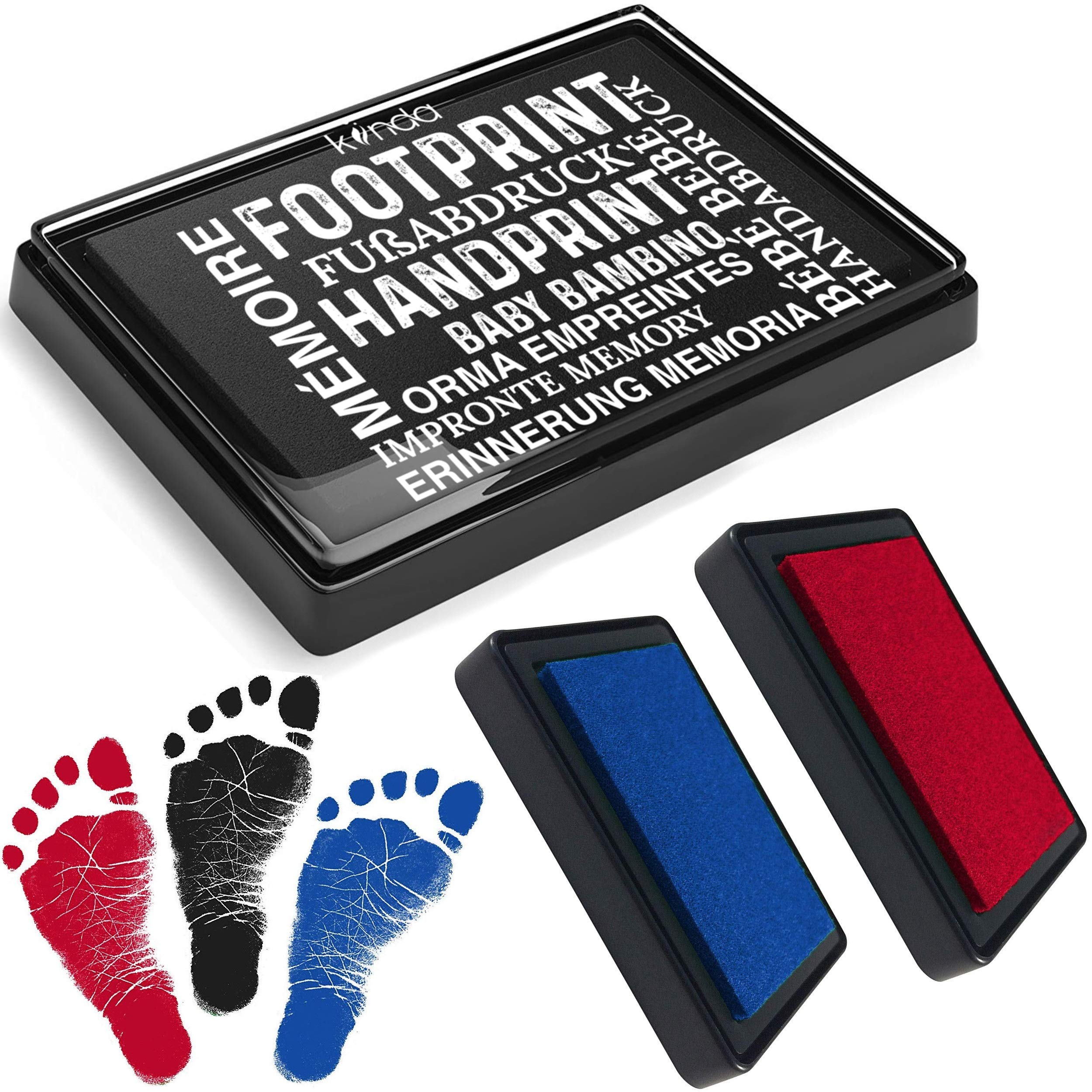 Baby Ink Pad – Handprint & Footprint Newborn Kit – Print Stamps Reusable Feet & Hands Stamps – 100% Non-Toxic, Acid-Free – Smudge-Proof Designs – Ideal Family Memory (Black+Blue+Red)