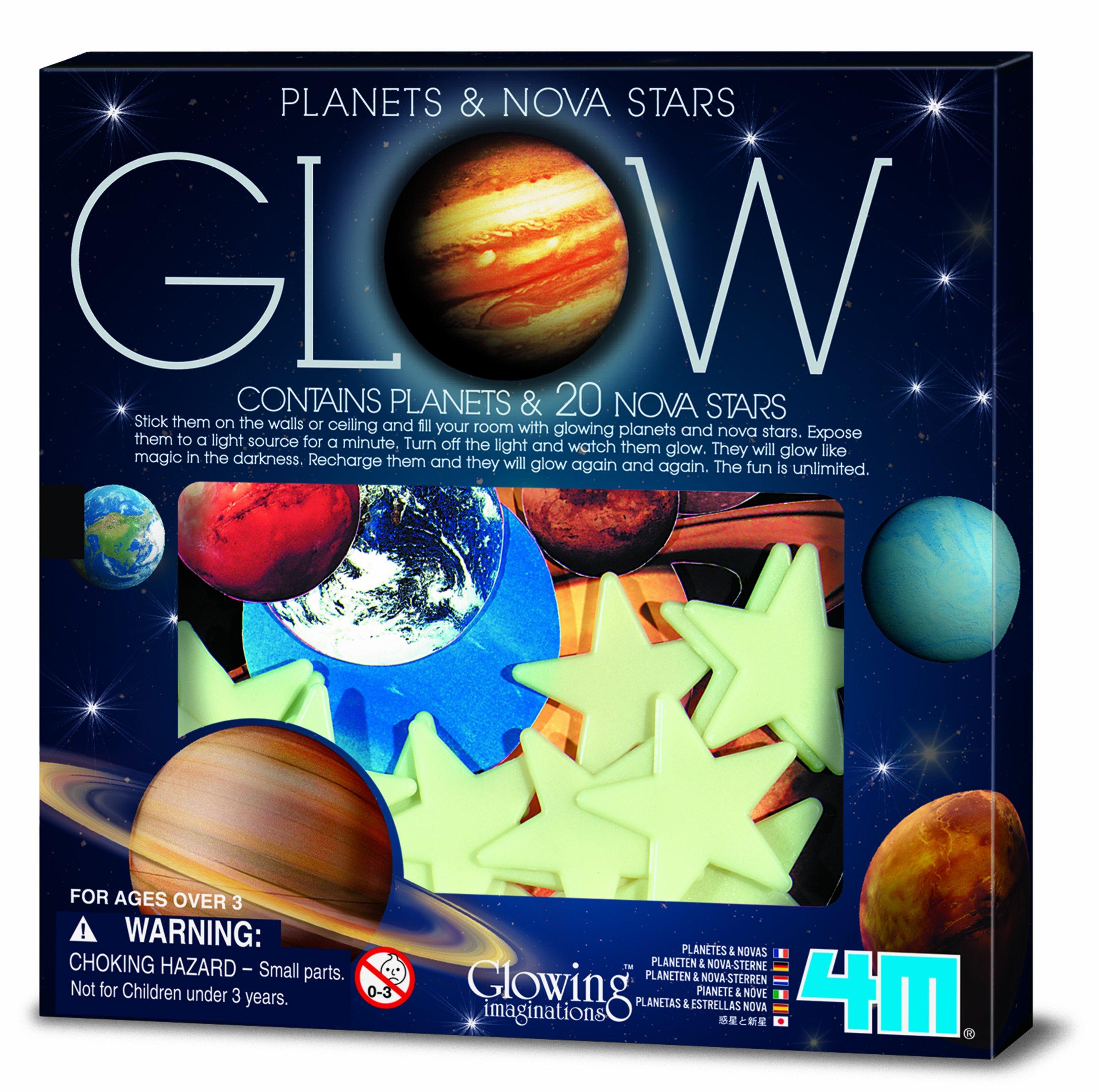 4M Glow Planets & Nova Stars - Astronomy Space Stem Toys Gift Room Décor For Kids & Teens, Boys & Girls, 3730
