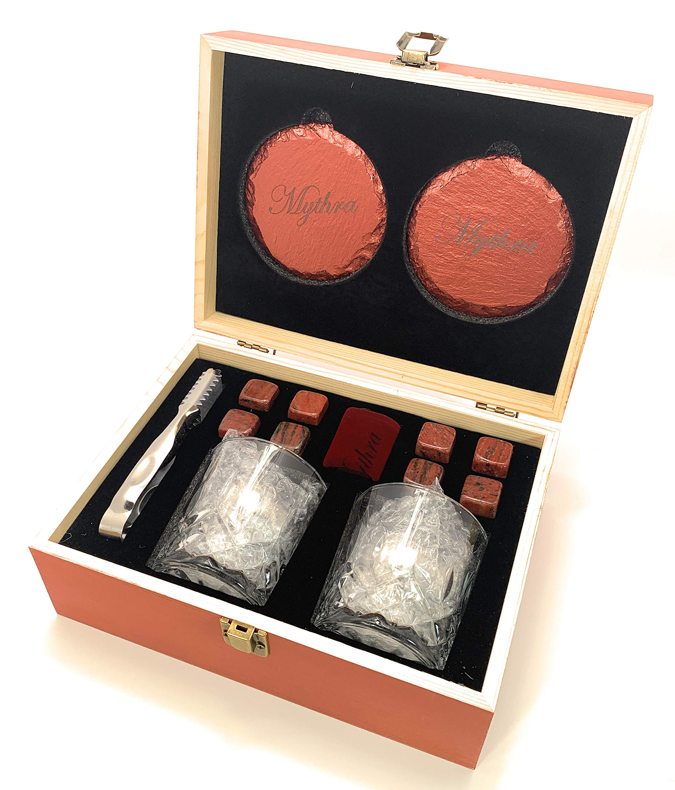 Whiskey glass set and Whiskey stones gift set 8 granite soap stone, 2 stone coasters, 1 Scotch rock tongs, 1 velvet bag 2 stainless steel metal chilling balls By Mythra (Red)