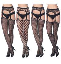 4 Pack Sexy Fishnet Stocking Tights Hosiery For Women By Frenchic Extended Sizes