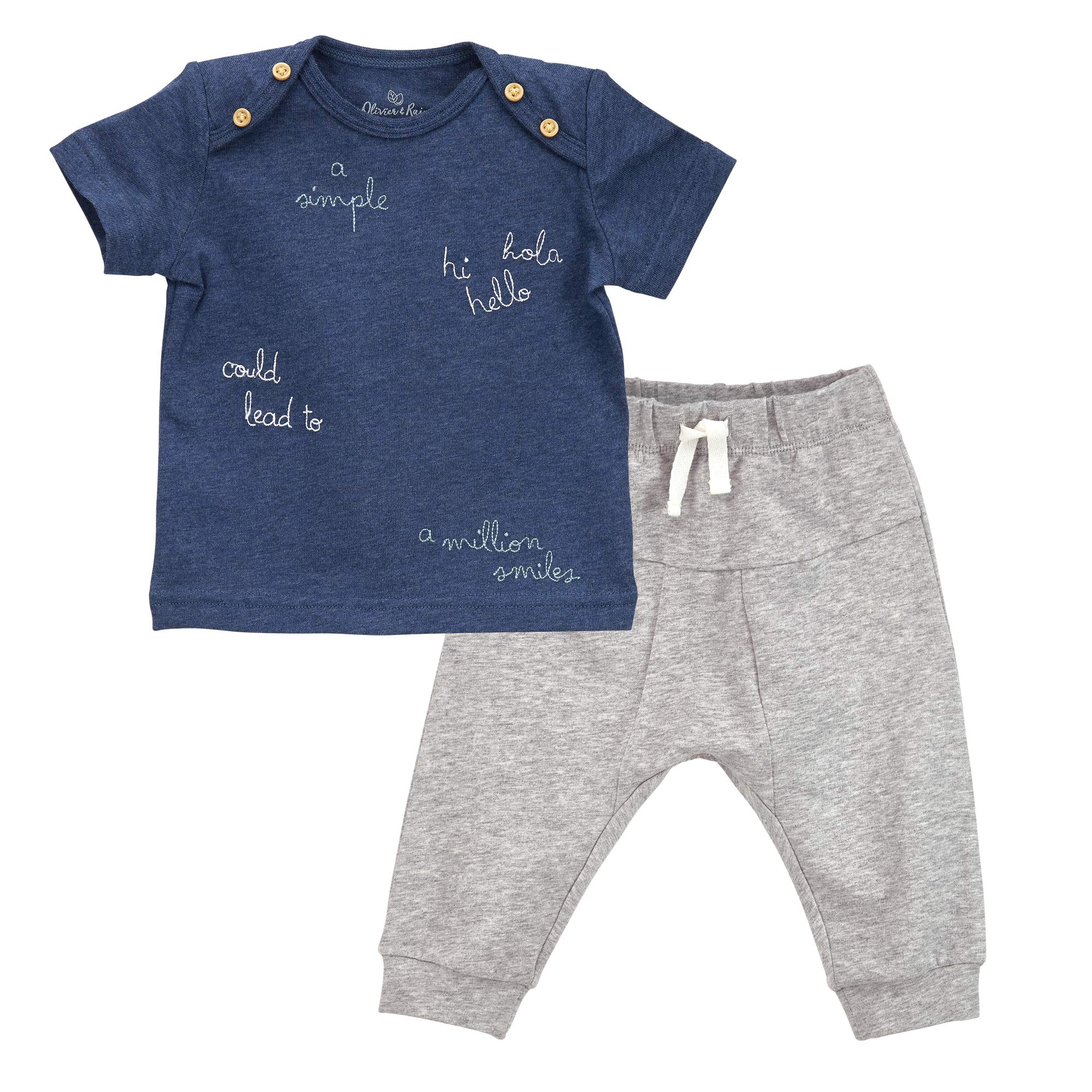"""Oliver & Rain - Organic """"Hello"""" Short Sleeve Tee and Jogger Pants Outfit Set, Navy/Heather Gray, 18M"""