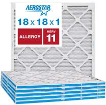 """Aerostar Allergen & Pet Dander 18x18x1 MERV 11 Pleated Air Filter, Made in the USA, (Actual Size: 17 3/4""""x17 3/4""""x3/4""""), 6-Pack"""