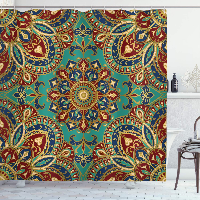"Ambesonne Mandala Shower Curtain, Pattern with Mandala Style Eastern Medieval Motifs Oriental Ethnic, Cloth Fabric Bathroom Decor Set with Hooks, 84"" Long Extra, Teal Indigo"
