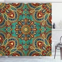 "Ambesonne Mandala Shower Curtain, Pattern with Mandala Style Eastern Medieval Motifs Oriental Ethnic, Cloth Fabric Bathroom Decor Set with Hooks, 70"" Long, Teal Indigo"