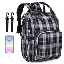 Large Baby Diaper Bag Backpack,Multi-Function Stylish Travel Maternity Baby Nappy Changing Bags with USB Charging Port (Classic Plaid 01)