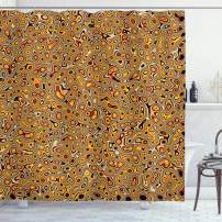 """Ambesonne Psychedelic Shower Curtain, Abstract Hallucinatory Plasma Shapes with Eastern Marbleized Print, Cloth Fabric Bathroom Decor Set with Hooks, 70"""" Long, Brown Orange"""