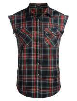 COOFANDY Men's Sleeveless Flannel Plaid Shirts Casual Cotton Plus Size Vest