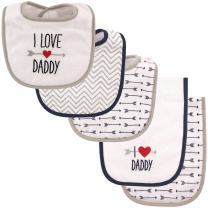 Luvable Friends Unisex Baby Bib and Burp Cloth Set, Boy Daddy, One Size