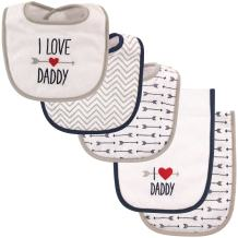 Luvable Friends Unisex Baby Bib and Burp Cloth Set, Boy Daddy, One Size
