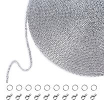Outus 33 Feet Stainless Steel DIY Link Chain Necklaces with 20 Lobster Clasps and 30 Jump Rings for Jewelry Making (1.5 mm Wide)