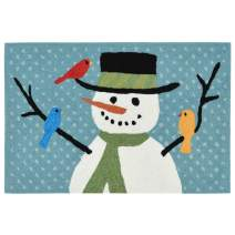 """Liora Manne Front Porch Winter Snowman And Friends Bl Indoor/Outdoor Rug, 20"""" X 30"""", White and Black"""