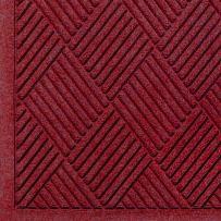 "M+A Matting 221 Waterhog Fashion Diamond Polypropylene Fiber Entrance Indoor/Outdoor Floor Mat, SBR Rubber Backing, 3' Length x 2' Width, 3/8"" Thick, Red/Black"