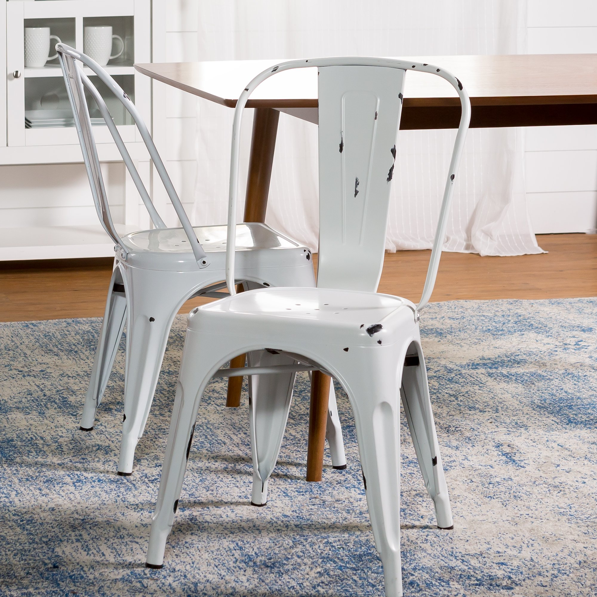 WE Furniture Stackable Metal Cafe Bistro Chair, Antique White
