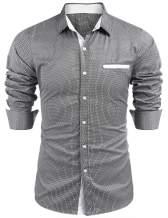 COOFANDY Men's Slim Fit Cotton Dress Shirt Wrinkle Free Polka Dots Button Down Collar Shirt