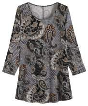 Weintee Women's 3/4 Sleeve Casual T-Shirt Plus Size Tunic